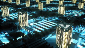 Cybernetic futuristic City. 3d buildings, skyscrapers in technology style.