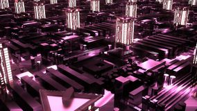 Cybernetic futuristic neon City. skyscrapers in technology style. Cybernetic futuristic neon City. 3d buildings, skyscrapers in technology style Stock Image