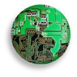 Cybernetic globe. Electronic board sphere, isolated green cybernetic globe Royalty Free Stock Photo
