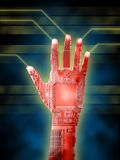 Cybernetic hand. Open cybernetic hand. Printed circuits visibile. Digital illustration Stock Photo
