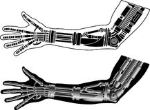 Cybernetic hand with stencil Stock Images