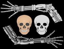 Cybernetic hands and skulls Stock Images
