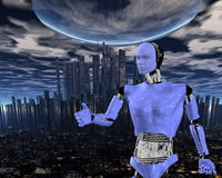 cybernetic intelligens för android Arkivbilder