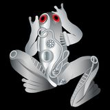 Cybernetic silver metal techno frog from gears with red eyes royalty free illustration