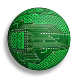 Cybernetic world. Electronic board sphere, isolated cybernetic globe Stock Images