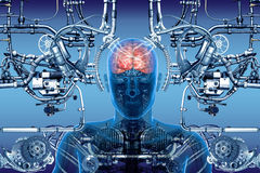 Cybernetics. Study of the human brain using Ð¡ybernetics stock illustration