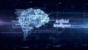Cybernetisch hersenen blauw hologram stock illustratie