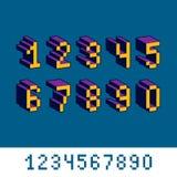 Cybernetische 3d aantallen, de getalvoorstelling van de pixelkunst Pixelontwerp Royalty-vrije Stock Fotografie