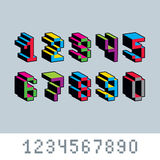 Cybernetische 3d aantallen, de vectorgetalvoorstelling van de pixelkunst Pixelontwerp Stock Foto's