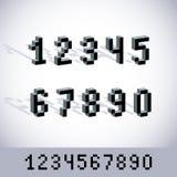 Cybernetische 3d aantallen, de vectorgetalvoorstelling van de pixelkunst Pixelontwerp Stock Afbeelding