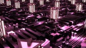 Cybernetische futuristische neonstad wolkenkrabbers in technologiestijl Stock Afbeelding