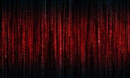 Cyberprzestrzeń z cyfrowymi liniami, binarny obwieszenie łańcuch obrazy stock