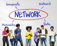 Cyberprzestrzeni sieci multimedie Wprowadzają innowacje Multimedialnego pojęcie Zdjęcie Royalty Free
