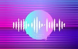 cyberpunk Электронная музыка Глубокий дом Розовый круг с волной музыки Футуристическая абстрактная геометрия Стиль 80s Synthwave  иллюстрация вектора