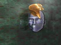 Cyberpunk. Illustration about communication - Cyberpunk - abstract Head - Background - 3D Stock Photography
