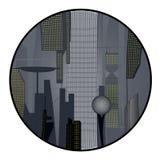 Cyberpunk. Circular illustration of futuristic cyberpunk city Royalty Free Stock Photography