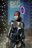 Cyberpunk adventurer freelance girl Stock Images