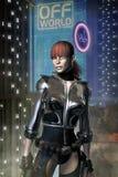 Cyberpunk adventurer freelance girl. 3D render illustration Stock Images