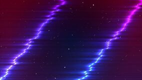 Free Cyberpunk Background. Neon Glitch Backdrop. Two Inclined Distorted Lines. Pink And Blue Colors. Old Grain Effect Stock Photo - 192984530