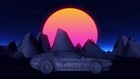 Cyberpunk car in 80s style moves on a virtual neon landscape.  royalty free illustration