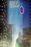 Cyberpunk city background. 3D render illustration Stock Photography