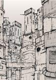 Cyberpunk city. fantastic buildings constructions. Hand drawn monochrome illustration. Cyberpunk city. fantastic buildings constructions. Hand drawn monochrome Stock Photography