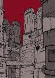 Cyberpunk miasto Fantastyczne budowy Wieżowowie na tle czerwień, Burgundy niebo Kolorowa ręka rysująca ilustracji