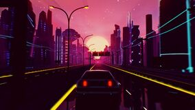 Cyberpunk sunset landscape with a car on a highway road in futuristic city