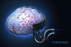Cyberpunk technology of the future. Cyber mind. Modern illustration. Vector stock illustration