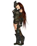 Cyberpunk Woman - 3. Digital render of a red-haired cyberpunk woman with two guns Royalty Free Stock Image