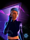 Cyberpunkflicka med blått hår Arkivbild