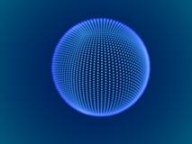 Cyberraumkonzept: digitaler Bereich 3d, der aus glühenden Partikeln besteht Stock Abbildung