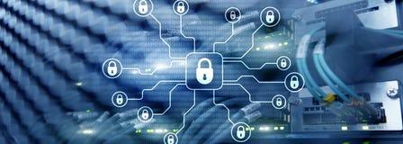 Cybersäkerhet, dataskydd, informationsavskildhet Internet- och teknologibegrepp stock illustrationer