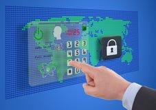Cybersäkerhet på faktiska skärmar royaltyfri bild