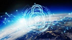 Cybersäkerhet på tolkning för planetjord 3D Arkivbild