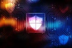 Cybersäkerhetsbegrepp, begrepp av internetsäkerhet, sköld på digital bakgrund stock illustrationer