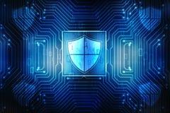 Cybersäkerhetsbegrepp, begrepp av internetsäkerhet, sköld på digital bakgrund royaltyfri illustrationer