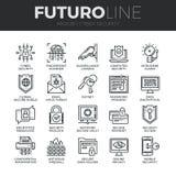 CybersäkerhetsFuturo linje symbolsuppsättning stock illustrationer