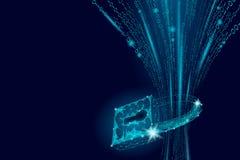 Cybersäkerhetshänglås på datamass Om internetsäkerhetslås för information för avskildhet poly polygonal framtida innovation lågt stock illustrationer