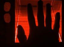 cybersecurity数字式指纹扫描 库存图片