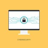 Cybersecurity系统,互联网保护概念 库存例证