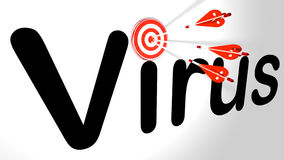 Cybersecurity arrows hit the virus Stock Photography