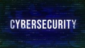 Cybersecurity - buzzword animado do pulso aleatório com o binário no fundo