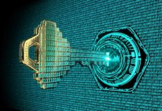 Cybersecurity concept: 3d rendered illustration of a binary code key. Cybersecurity concept: A 3d rendered illustration of a key morphing into binary code and stock illustration