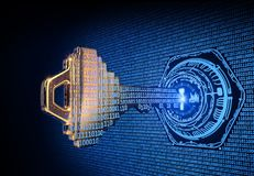 Cybersecurity concept: 3d rendered illustration of a binary code key. Cybersecurity concept: A 3d rendered illustration of a key morphing into binary code and Stock Images