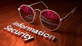 Cybersecurity concept with sunglasses reflecting screen Royalty Free Stock Photos