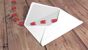 Cybersecurity concept white envelope with red crawling bugs. Open white envelope on a wooden table with red bugs crawling out of it cybersecurity concept 3D Stock Images