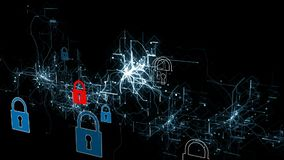 Cybersecurity e protezione della rete o di informazioni I web service futuri della tecnologia per l'affare e Internet proiettano stock footage