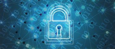 Cybersecurity en informatie of netwerkbescherming Toekomstige technologie Stock Afbeeldingen