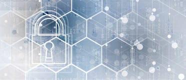 Cybersecurity en informatie of netwerkbescherming Toekomstige technologie Royalty-vrije Stock Foto